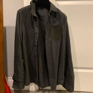 All Saints Button Down with Leather Pocket